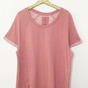 Livi Lane Bryant French Terry Rose Lace Up Shirt